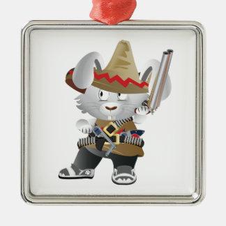 Mexican Bandit Bunny Silver-Colored Square Ornament