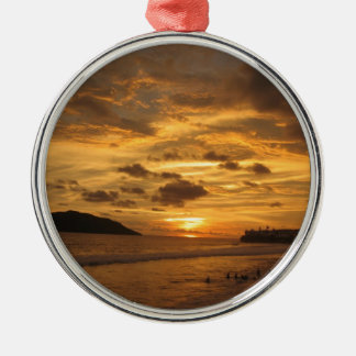 Mexican Beach Sunset Silver-Colored Round Ornament