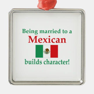 Mexican Builds Characcter Silver-Colored Square Ornament