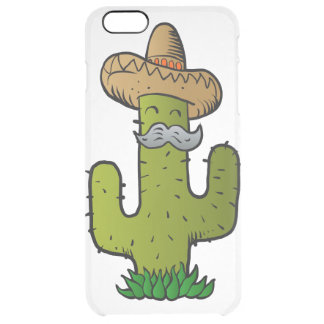 mexican cactus with mustache clear iPhone 6 plus case