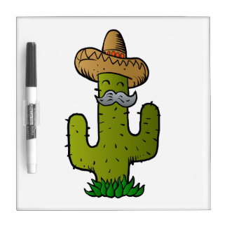 mexican cactus with mustache dry erase white board