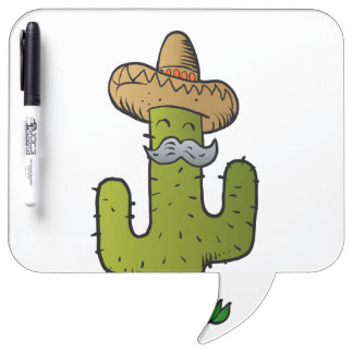 mexican cactus with mustache Dry-Erase whiteboard