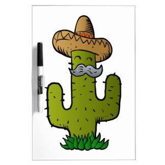 mexican cactus with mustache Dry-Erase whiteboards