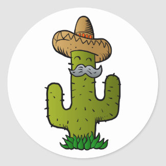 mexican cactus with mustache round sticker