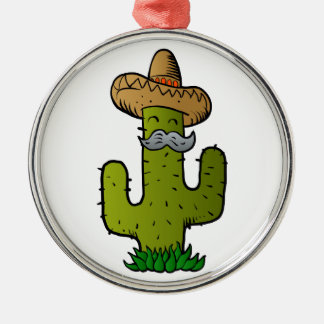 mexican cactus with mustache Silver-Colored round ornament