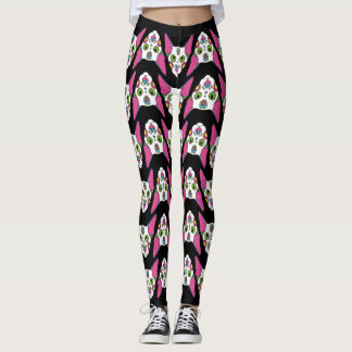 Mexican cat design on black background leggings
