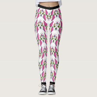 Mexican Cat design on white background Leggings