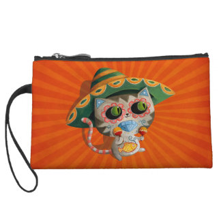 Mexican Cat with Sombrero Wristlet