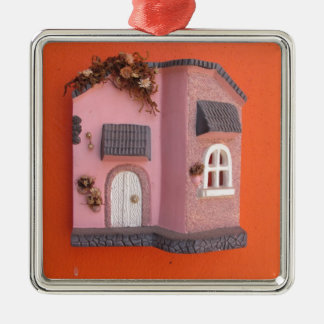 Mexican Ceramic House Fasad Silver-Colored Square Ornament
