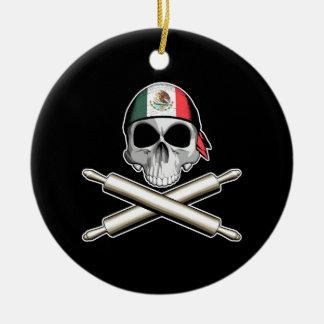 Mexican Chef 3 Round Ceramic Ornament