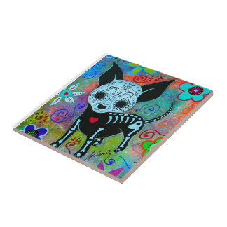 MEXICAN CHIHUAHUA WHIMSICAL PAINTING CERAMIC TILES