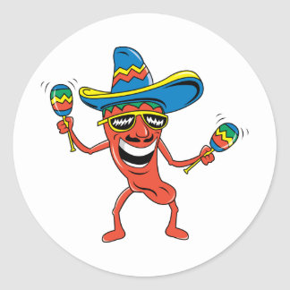 Mexican Chili Pepper Classic Round Sticker