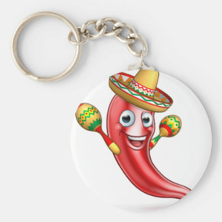 Mexican Chilli Pepper with Maracas and Sombrero Basic Round Button Keychain