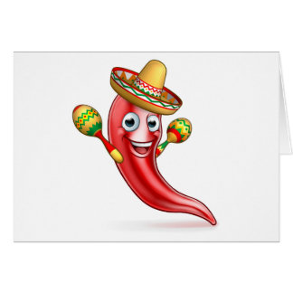 Mexican Chilli Pepper with Maracas and Sombrero Card