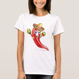 Mexican Chilli Pepper with Maracas and Sombrero T-Shirt