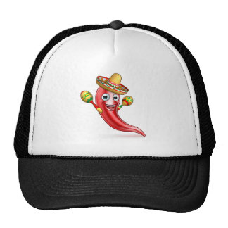 Mexican Chilli Pepper with Maracas and Sombrero Trucker Hat