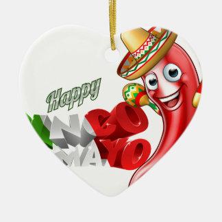 Mexican Cinco De Mayo Chilli Pepper Design Ceramic Heart Ornament