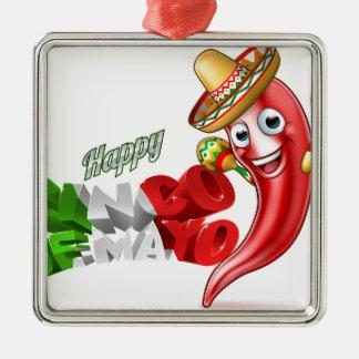Mexican Cinco De Mayo Chilli Pepper Design Metal Ornament