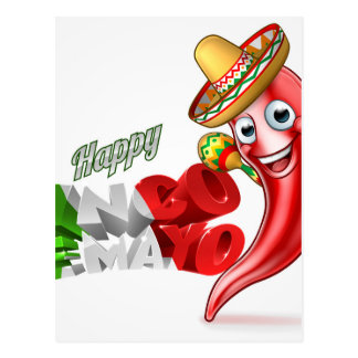 Mexican Cinco De Mayo Chilli Pepper Design Postcard