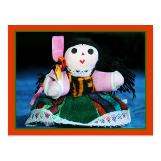 Mexican cloth doll postcard