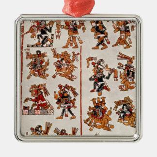 Mexican codex Silver-Colored square ornament