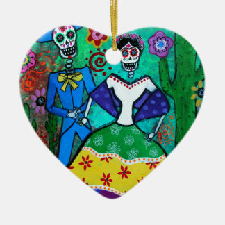 MEXICAN COUPLE DANCING CERAMIC HEART ORNAMENT