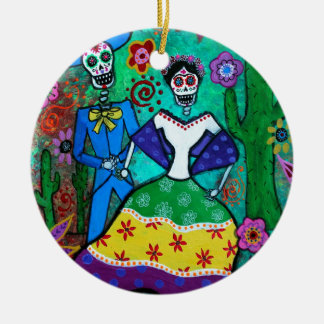 MEXICAN COUPLE DANCING ROUND CERAMIC ORNAMENT