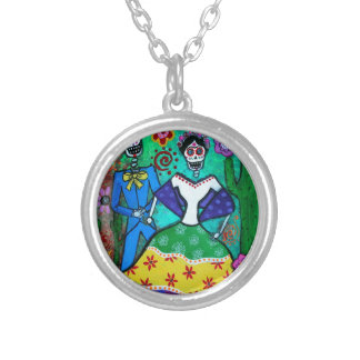 MEXICAN COUPLE DANCING SILVER PLATED NECKLACE
