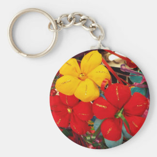 Mexican Crepe Flowers Basic Round Button Keychain