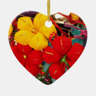 Mexican Crepe Flowers Ceramic Heart Ornament
