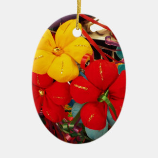 Mexican Crepe Flowers Ceramic Oval Ornament