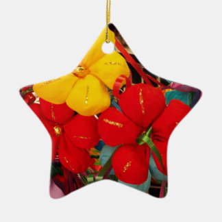 Mexican Crepe Flowers Ceramic Star Ornament