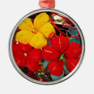 Mexican Crepe Flowers Silver-Colored Round Ornament