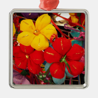 Mexican Crepe Flowers Silver-Colored Square Ornament