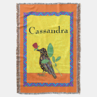 Mexican Crow & Red Rose Personalized Folk Art Throw Blanket