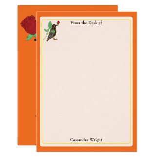 Mexican Crow & Rose Orange Personalized Stationery Card