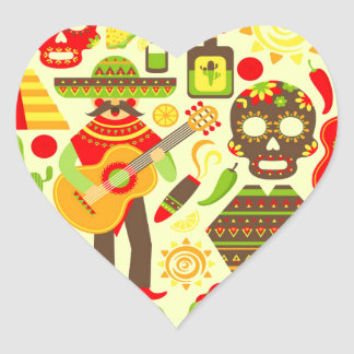 Mexican day of the dead Mexico Heart Sticker
