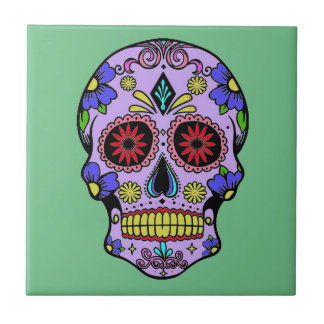 Mexican Day of the Dead Skull Ceramic Green Tile