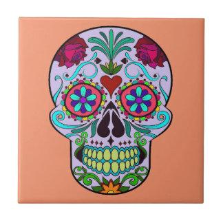 Mexican Day of the Dead Skull Ceramic Orange Tile