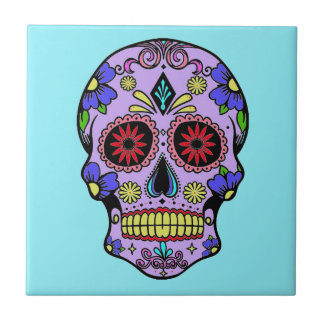 Mexican Day of the Dead Skull Ceramic Turquoise Tile