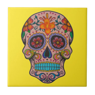 Mexican Day of the Dead Skull Ceramic Yellow Tile