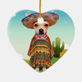 Mexican dog ,chihuahua ceramic heart ornament
