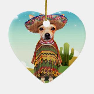 Mexican dog ,chihuahua ceramic ornament