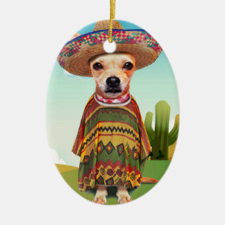 Mexican dog ,chihuahua ceramic oval ornament