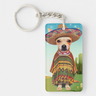 Mexican dog ,chihuahua Double-Sided rectangular acrylic keychain