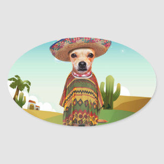 Mexican dog ,chihuahua oval sticker