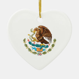 Mexican Eagle And Snake Ceramic Heart Ornament