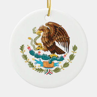 Mexican Eagle And Snake Round Ceramic Ornament