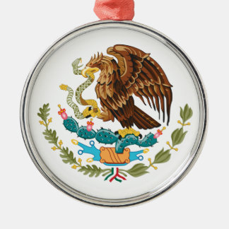 Mexican Eagle And Snake Silver-Colored Round Ornament