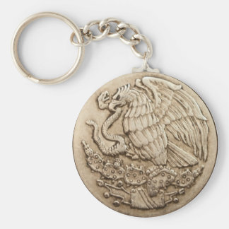 Mexican eagle basic round button keychain